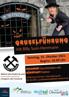 AUSGEBUCHT - Gruselführung durch das Besucherbergwerk Grube Wenzel mit Billy Sum-Herrmann
